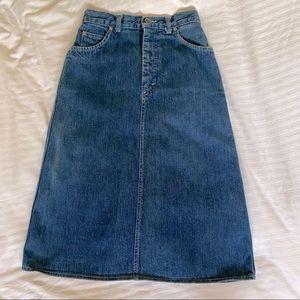 Vintage Lee high rise midi jean skirt